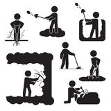 Ships and boats set, Yacht icon set. Vector.People digging, excavating or drilling icon set. Vector icons. People digging, excavating or drilling icon set Stock Photography