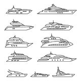 Ships and boats set, Yacht thin line icon set. Vector. Eps10 Stock Image