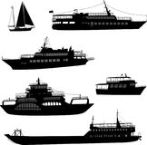 Ships and boats silhouettes. Vector Royalty Free Stock Photos