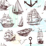 Ships and boats sketch seamless pattern. Sailing tall ships frigates brigantine clipper yachts and boat sketch seamless pattern vector illustration Royalty Free Stock Images
