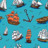 Ships and boats sketch seamless pattern Stock Images