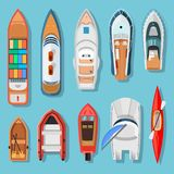Ships and boats top view. Transport for travel on water surface, vessels above the sea or ocean background. Vector flat style cartoon illustration isolated on vector illustration