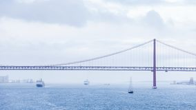 Ships and Boats Traverse the River Tagus Stock Image
