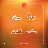Ships and boats. 4 vector icons related to ships, boats and other objects and symbols in relation to boat swimming, pictured here from left to right, top to Royalty Free Stock Image