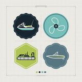 Ships and boats. 4 vector icons related to ships, boats and other objects/symbols in relation to boat swimming, pictured here from left to right, top to bottom Royalty Free Stock Photo