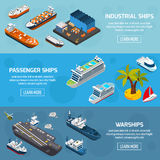 Ships Boats Vessels Isometric Banners Set. Passenger cruise liners industrial tankers and military warships 3 isometric horizontal banners set abstract vector stock illustration
