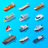 Ships Boats Vessels Isometric Icon Set Stock Photo