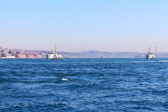 Ships on the Bosphorus. Blue water Stock Photo