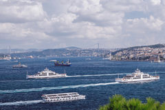 Ships on the Bosphorus in Turkey Stock Photography