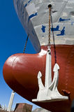 Ships bow. A ship's bow and anchor, dockyards of Reykjavik, Iceland stock photo