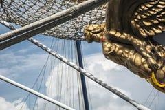 Ships bow as a yellow woman Royalty Free Stock Photos