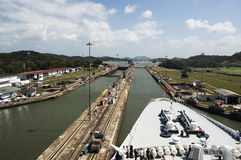Ships bow in the Panama Canal crossing Stock Photo