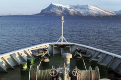 Ships bow snow mountain Stock Images