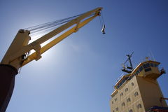 Ships bridge and crane Stock Photos