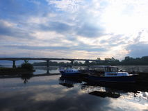 Ships and bridge in sunrise colors, Lithuania Royalty Free Stock Photos