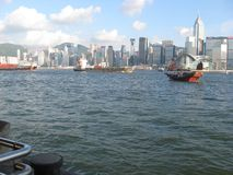 Ships in the busy Hong Kong harbour, Hong Kong royalty free stock photos