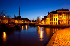 Ships on canal in Groningen at night Stock Image