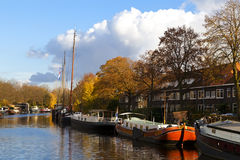 Ships on the canal in Groningen Royalty Free Stock Photos