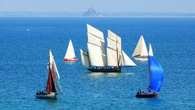 Ships in the Cancale Bay. Royalty Free Stock Photos