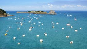 Ships in the Cancale Bay. Stock Photo