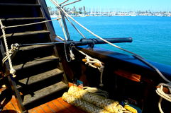 Ships cannon. A tall ships small cannon overlooking the waterline Royalty Free Stock Images