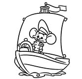 Ships Captain Mouse coloring pages Royalty Free Stock Photos