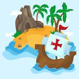 The ships of Christopher Columbus and Tropical Island with palms in ocean Royalty Free Stock Images