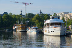 Ships at the city`s waterfront early on a summer morning. Lappeenranta Stock Image