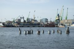 Ships and cranes in the harbour. Ships in the harbour, port Klaipeda Stock Photos