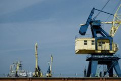 Ships and cranes in the harbour of Klaipeda. Ships in the harbour, port Klaipeda, Lithuania Stock Images