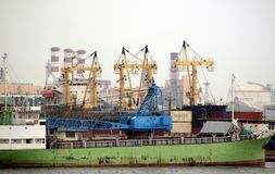 Ships and Cranes in Kaohsiung Stock Image