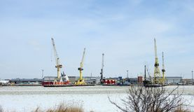 Klaipeda port in winter, Lithuania Royalty Free Stock Images