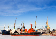 Ships and cranes in wharf of St.Petersburg Royalty Free Stock Images