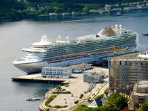 Ships in cruise port - Alesund, Norway. Cruise ship Azura in port in Norway Royalty Free Stock Photo