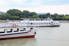 Ships on the Danube. Passanger ships on the Danube Royalty Free Stock Photos