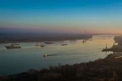 Ships on Danube, Romania Stock Photo