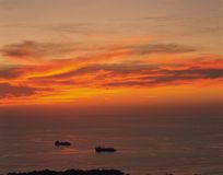 Ships and Dawn. Details Royalty Free Stock Images