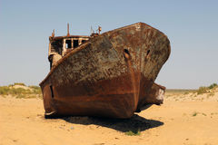 The ships in desert, Aral Sea disaster, Muynak, Uzbekistan Stock Image