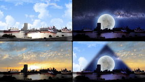 Ships from different kind in waterfront in four screens Royalty Free Stock Photo