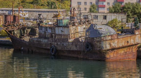 Ships in dock. Old rusty ships in dock Stock Images