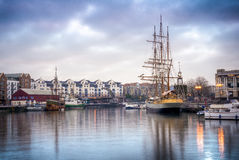 Ships docked at Bristol. Ships docked near Bristol& x27;s port stock photo