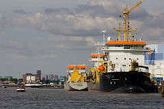 Ships Docked on the Maas Royalty Free Stock Images