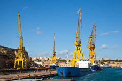 Ships in dry dock. At Grand harbour (Malta Royalty Free Stock Photography