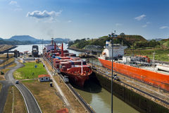 Ships entering the Miraflores gates in the Panama Canal Stock Images