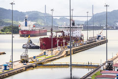 Ships entering the Panama Canal Royalty Free Stock Photo
