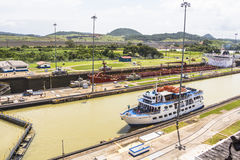 Ships entering the Panama Canal Royalty Free Stock Photos