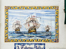 Ships of explorers on a typical Portuguese lattice. Royalty Free Stock Photography