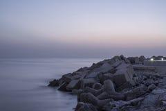 ships för horisont för strandlastgryning Royaltyfri Bild
