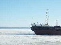 The ships on the frozen lake Royalty Free Stock Photography