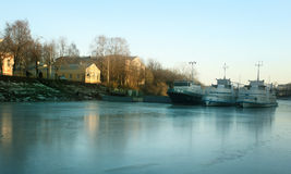 Ships on the frozen river Royalty Free Stock Image